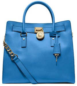 Michael Kors Leather Structured Tote in Blue