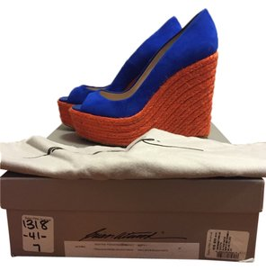 Brian Atwood Suede Gators Blue and Orange Wedges