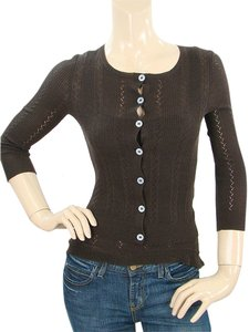 Diane von Furstenberg Knit Silk Crochet Sweater