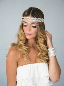 Adriana Wedding Bridal Crystal Headpiece Headband Satin Ribbon Vintage Inspired Band