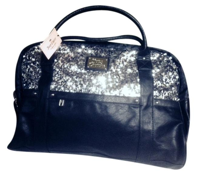 Item - Black with Silver Sequence Leather Weekend/Travel Bag