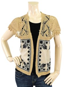 Dries van Noten Applique Knit Crochet Silk Embroidered Floral Cardigan