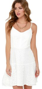 Lulu*s short dress White Lace Wedding Glamour Ivory on Tradesy
