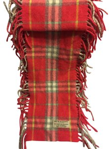 Burberry Wool Cashmere Scarf in Heritage Check Red