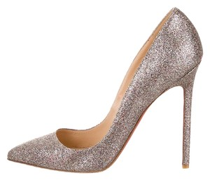 Christian Louboutin Metallic Silver Silver, Multicolor Pumps