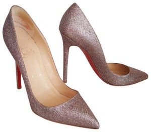 Christian Louboutin Metallic Glitter Pigalle Pointed Toe Silver, Multicolor Pumps
