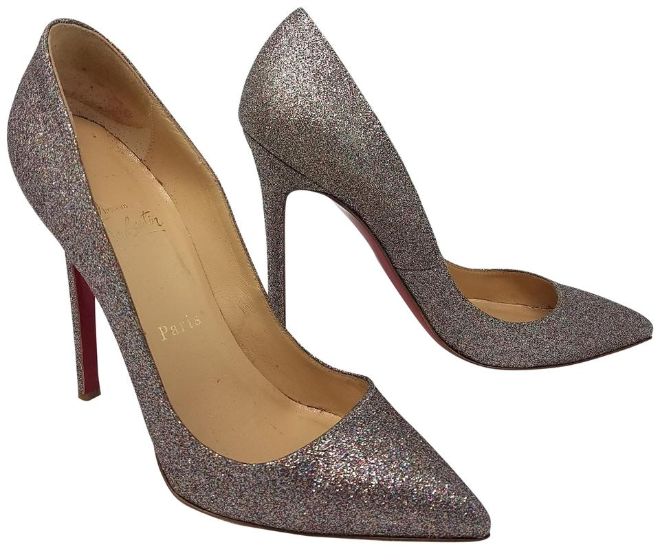 Christian Louboutin Silver Multicolor Metallic Glitter Pigalle Pointed-toe  Pumps