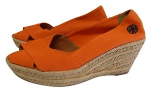 Tory Burch Rubber Sole bright orange Wedges