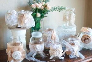 Set Of 10 Handmade Burlap Lace Linen And Cream Mason Jars