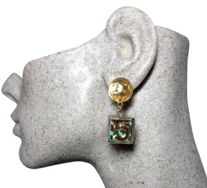 Chanel Authentic Chanel GOLD Holographic Cube No. 5 CC Dangle Clip Earrings