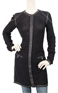 Jean-Paul Gaultier Knit Leather Fishnet Crochet Cardigan