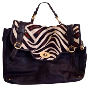 Pulicati Black/ Zebra print Messenger Bag