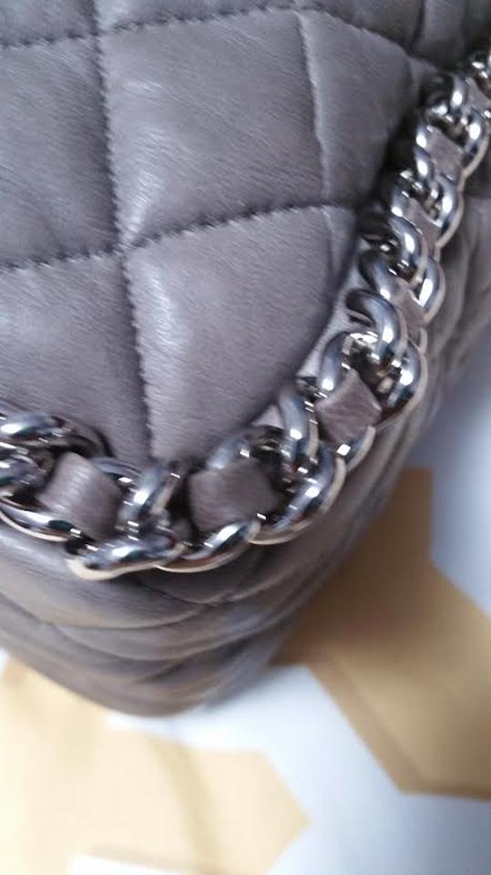 8db0b01cf02b5b Chanel Classic Flap Washed Silver Chain Around Maxi Taupe Lambskin ...