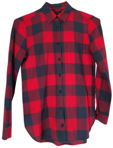 J.Crew Buffalo Plaid Flannel Button Down Shirt Red and Blue Check