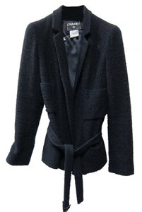 Chanel Belt Button Tweed Navy Blue Jacket