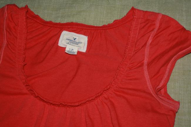 American Eagle Outfitters Cotton Mellon Scoop Neck Baby Doll Pink Orange Red Ruffles Soft T Shirt CORAL