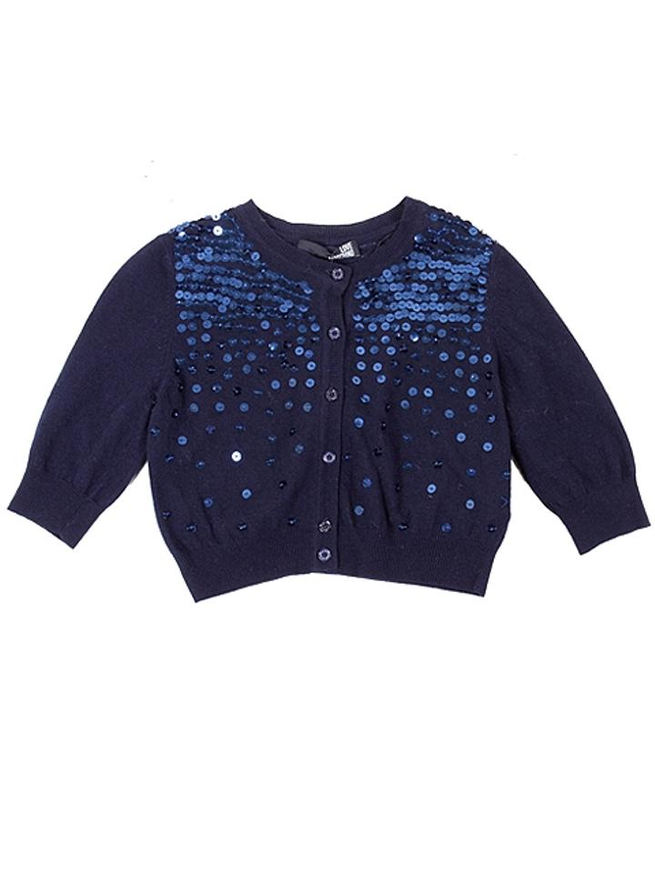 Love Moschino Navy Blue Knits - Midnight Sequined Cropped Cardigan ...