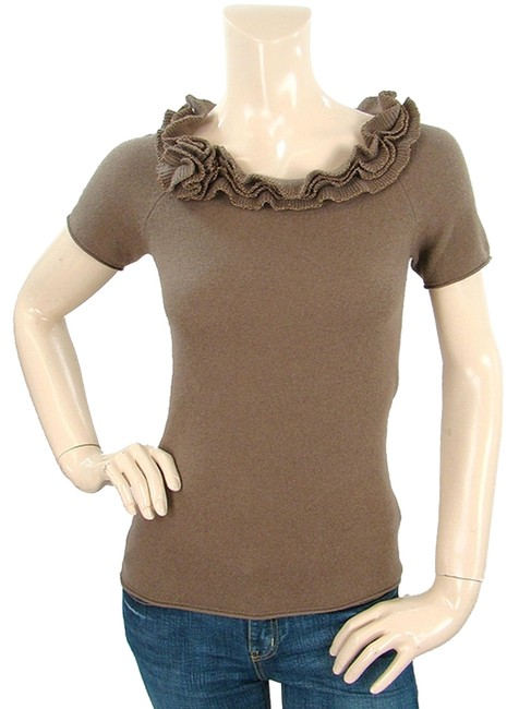 Preload https://item5.tradesy.com/images/magaschoni-brown-knits-cashmere-knit-ruffle-sweaterpullover-size-4-s-1080904-0-0.jpg?width=400&height=650