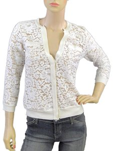 Magaschoni Lace Lace Trim Silk Wool Cardigan