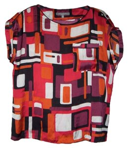 New York & Company Boat Neckline Cap Sleeves Top Multi-Color