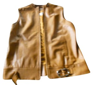 Barbara Hirsh Leather Vest Zipper Buckle Jacket