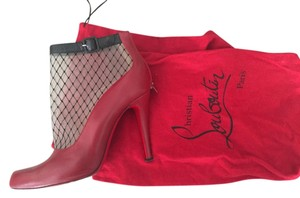 Christian Louboutin Leather Mesh Fishnet Red Pumps