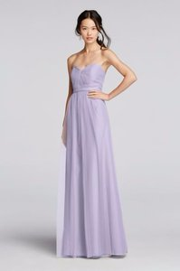 David's Bridal Lilac Full Length Tulle Bridesmaid Dress Dress