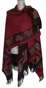 Reversible Shrug Poncho Burgundy Plum Frayed Edge Sweater
