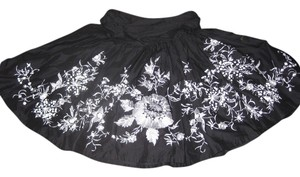 Kenar Full Versatile Wedding Summer Skirt black with white beading and embroidery