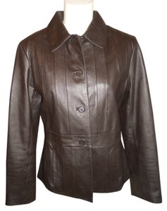Oleg Cassini dark brown Leather Jacket