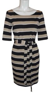 Banana Republic short dress black, tan & white strip Knit on Tradesy