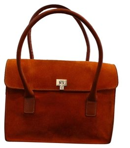 Lambertson Truex Tote in Orange Suede with Leather handle