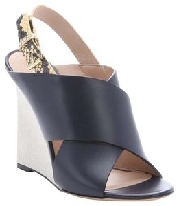 Céline Navy Yellow Taupe Wedges