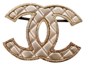 Chanel Gold Pearly White Quilted Cc Logo Brooch 2016
