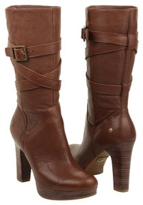 UGG Australia Leather Brown Heels Chestnut Boots