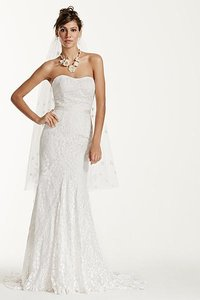 Galina Extra Length Strapless Lace Gown Ribbon Detail Wedding Dress
