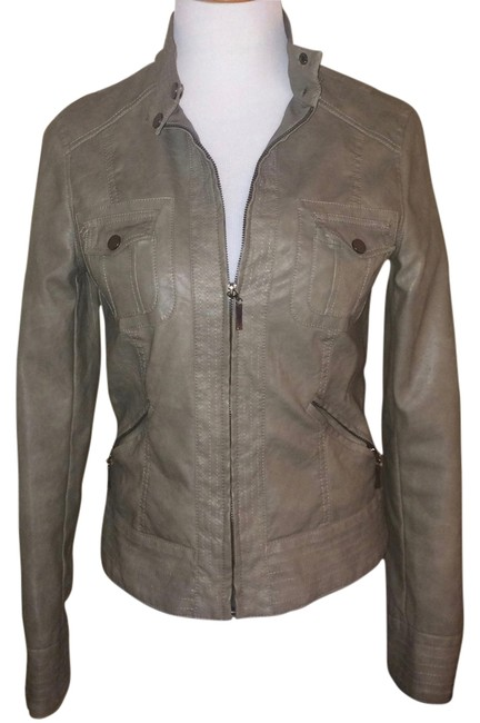 Studio M Faux Leather Small Classic Brown Grey Motorcycle Jacket
