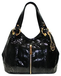 Michael Kors Embossed Leather Moxley Leather Zipper Shoulder Tote in Black