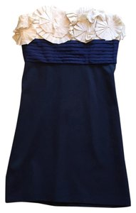 BCBGMAXAZRIA Fitted Applique Strapless Dress
