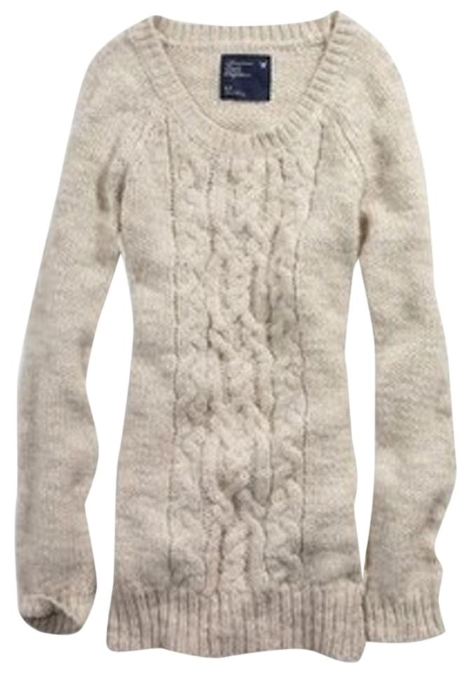 American Eagle Outfitters Greycream Ae Womens Cable Knit Sweater