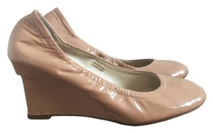 Vera Wang Patent Leather Wedge Nude Wedges