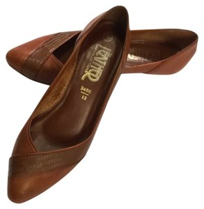 The Leather Collection Vintage Wedge 80's Brown Flats