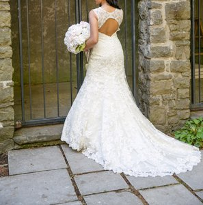 Allure Bridals Cafe/Ivory Lace with Crystal 9104 Formal Wedding Dress Size 8 (M)