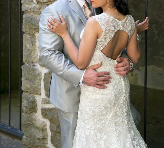 Allure Bridals Cafe/Ivory Lace with Crystal 9104 Formal Wedding Dress Size 8 (M) Image 1