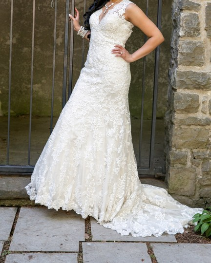 Allure Bridals Cafe/Ivory Lace with Crystal 9104 Formal Wedding Dress Size 8 (M) Image 2