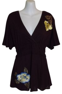 Anthropologie Floral Embroidered Modal Top Purple