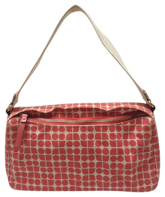 Item - 12324 Monogram Print Pink & White Canvas Baguette