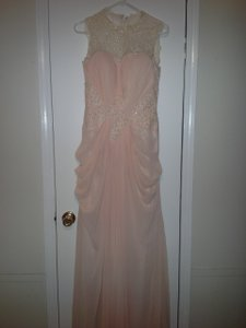Peach Tulle Gown Feminine Wedding Dress Size 8 (M)