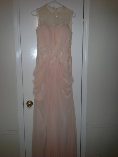 Peach Tulle Gown Feminine Wedding Dress Size 8 (M) Image 1