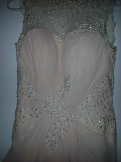 Peach Tulle Gown Feminine Wedding Dress Size 8 (M) Image 3